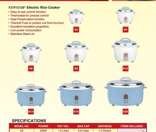 Rice Cooker Click to view Catalogue